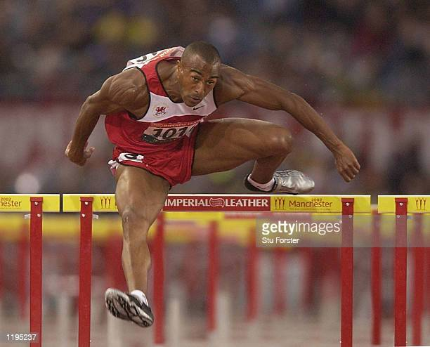 Colin Jackson of Wales in action during the Men's 110 metres Hurdles Final at the City of Manchester Stadium during the 2002 Commonwealth Games in...