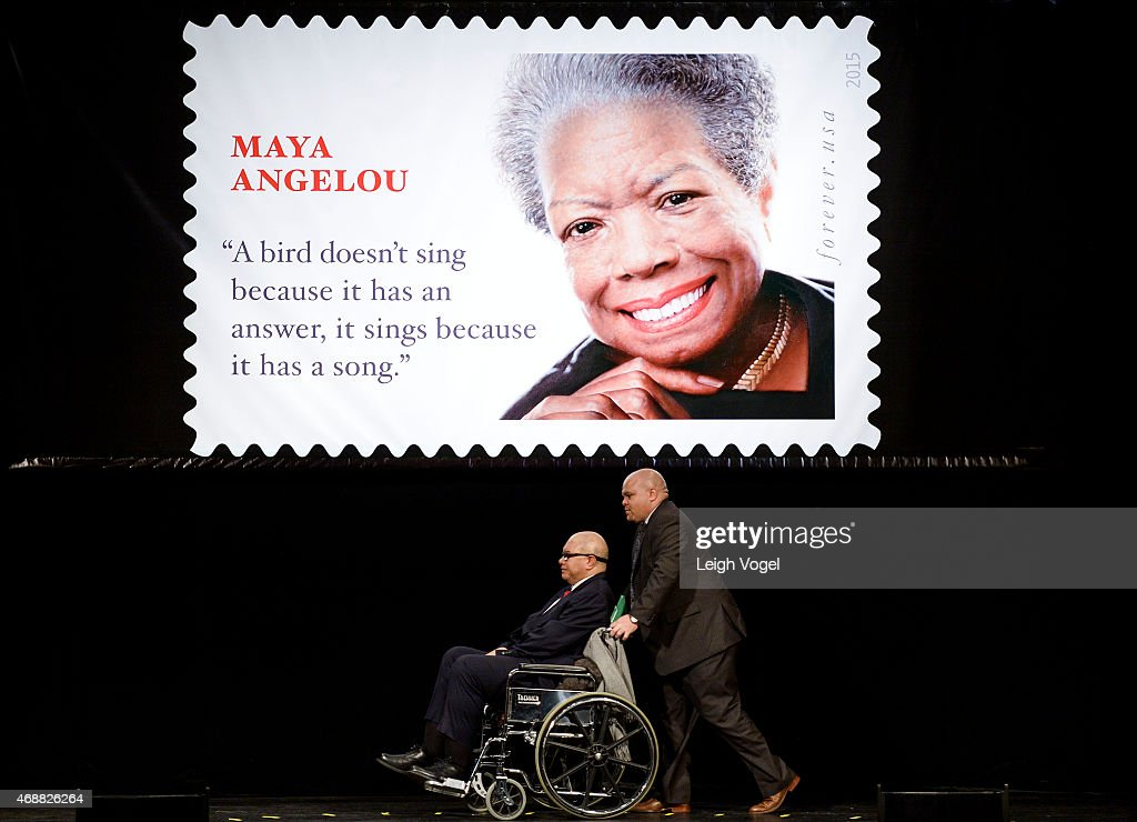 Colin Johnson and Guy Johnson speak during the Maya Angelou Forever Stamp Dedication at Warner Theatre on April 7, 2015 in Washington, DC.