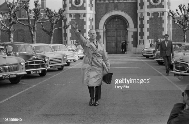 Colin Jordan , founder of the National Socialist Movement, pictured giving a Nazi salute gesture after being released from Wormwood Scrubs prison in...