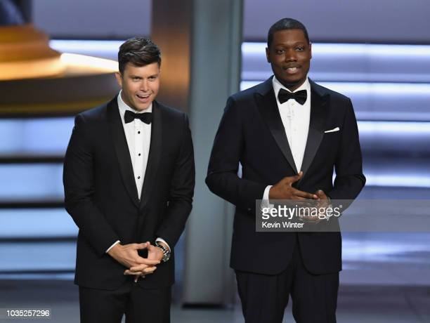 Colin Jost and Michael Che speak onstage during the 70th Emmy Awards at Microsoft Theater on September 17 2018 in Los Angeles California