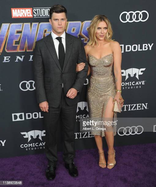 Colin Jost and Scarlett Johansson arrive for the World Premiere Of Walt Disney Studios Motion Pictures Avengers Endgame held at Los Angeles...