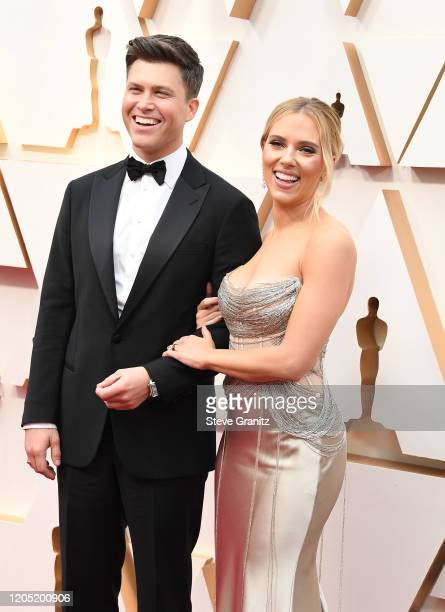 Colin Jost and Scarlett Johansson arrives at the 92nd Annual Academy Awards at Hollywood and Highland on February 09 2020 in Hollywood California