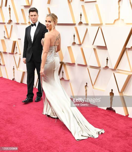 Colin Jost and Scarlett Johansson arrives at the 92nd Annual Academy Awards at Hollywood and Highland on February 09, 2020 in Hollywood, California.