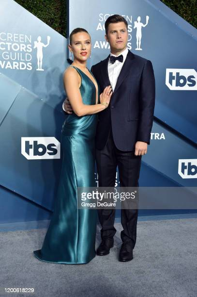 Colin Jost and Scarlett Johansson attend the 26th Annual Screen ActorsGuild Awards at The Shrine Auditorium on January 19, 2020 in Los Angeles,...