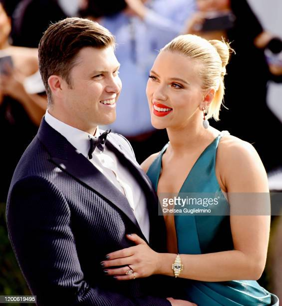 Colin Jost and Scarlett Johansson attend the 26th annual Screen ActorsGuild Awards at The Shrine Auditorium on January 19 2020 in Los Angeles...