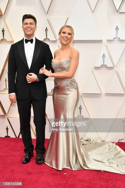Colin Jost and Scarlett Johansson attend the 92nd Annual Academy Awards at Hollywood and Highland on February 09 2020 in Hollywood California