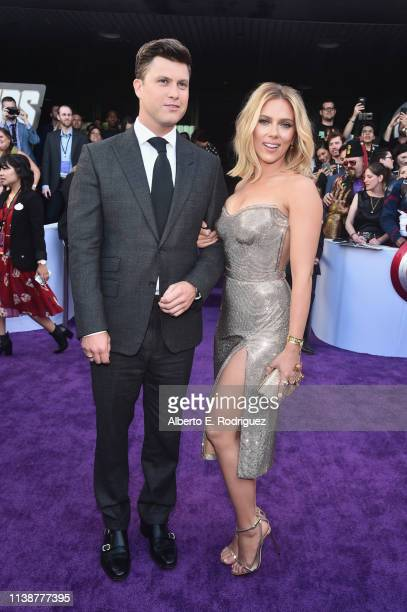 Colin Jost and Scarlett Johansson attend the Los Angeles World Premiere of Marvel Studios' Avengers Endgame at the Los Angeles Convention Center on...