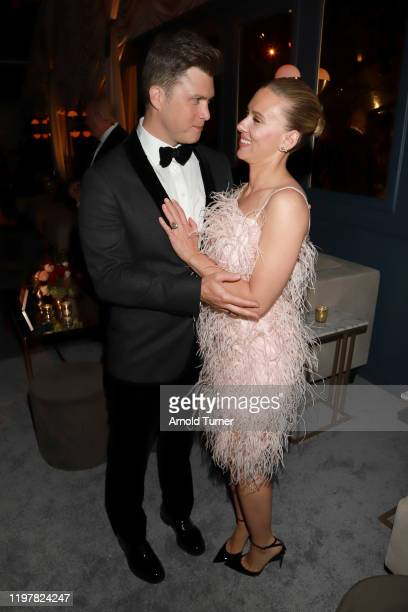 Colin Jost and Scarlett Johansson attend the Netflix 2020 Golden Globes After Party on January 05 2020 in Los Angeles California