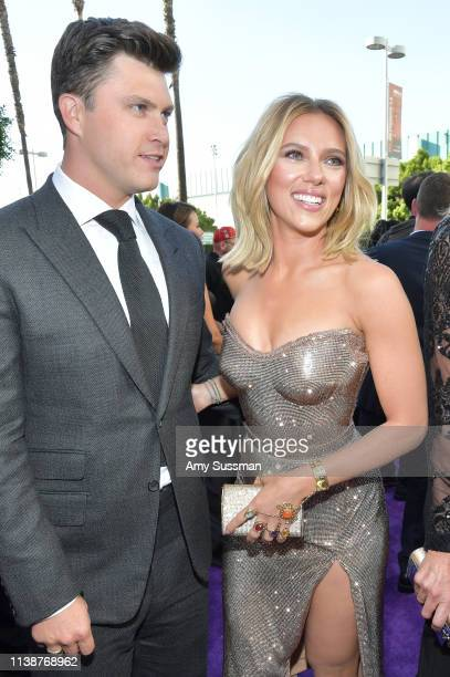 Colin Jost and Scarlett Johansson attend the world premiere of Walt Disney Studios Motion Pictures Avengers Endgame at the Los Angeles Convention...