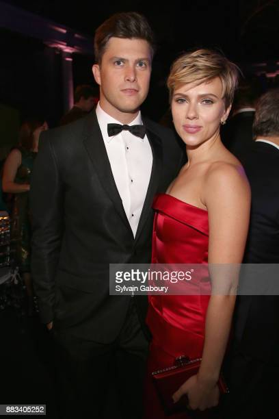 Colin Jost and Scarlett Johansson attends The 2017 Museum Gala at American Museum of Natural History on November 30, 2017 in New York City.