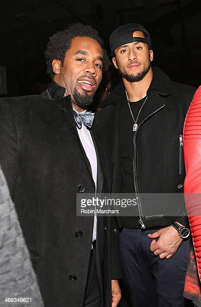 Colin Kaepernick and guest attend ESPN The Party at Basketball City Pier 36 South Street on January 31st 2014 in New York City