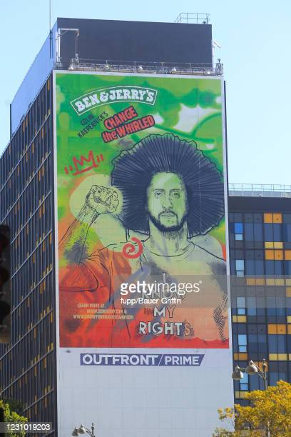 Colin Kaepernick Billboard Advertisement is seen on February 06, 2021 in Los Angeles, California.