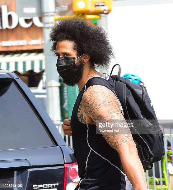 Colin Kaepernick is seen walking in SoHo September 14, 2020 in New York City.