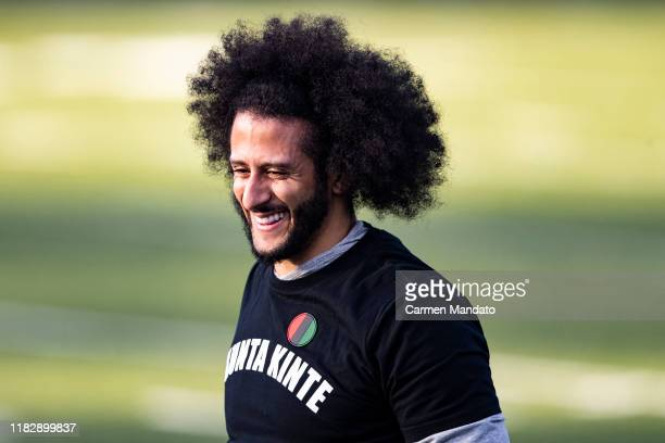 Colin Kaepernick looks on during a private NFL workout held at Charles R Drew high school on November 16, 2019 in Riverdale, Georgia.