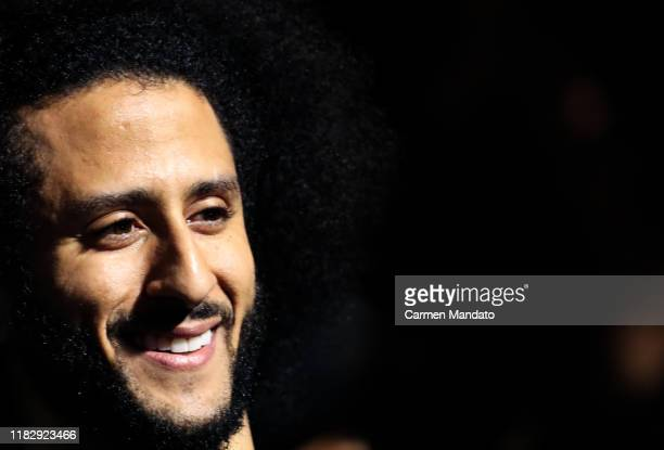 Colin Kaepernick looks on during the Colin Kaepernick NFL workout held at Charles R Drew High School on November 16 2019 in Riverdale Georgia