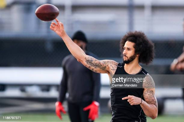 Colin Kaepernick looks to pass during his NFL workout held at Charles R Drew high school on November 16, 2019 in Riverdale, Georgia.