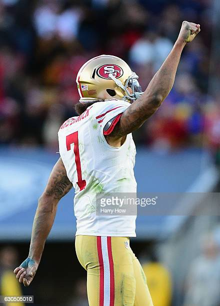 Colin Kaepernick of the San Francisco 49ers celebrates after scoring a two point conversion during the fourth quarter against the Los Angeles Rams at...