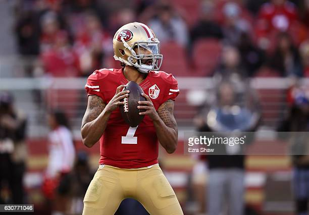Colin Kaepernick of the San Francisco 49ers drops back to pass against the Seattle Seahawks at Levi's Stadium on January 1 2017 in Santa Clara...