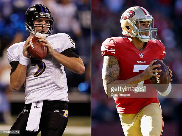 In this composite image a comparison has been made between quarterback Joe Flacco of the Baltimore Ravens and quarterback Colin Kaepernick of the San...