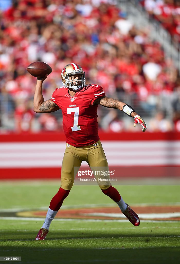 Colin Kaepernick #7 of the San Francisco 49ers looks to pass against the St. Louis Rams during the second quarter at Levi's Stadium on November 2, 2014 in Santa Clara, California.