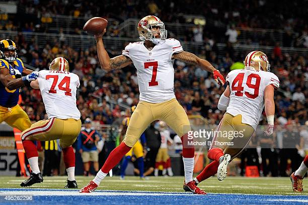 Colin Kaepernick of the San Francisco 49ers throws a pass against the St Louis Rams in the second quarter at the Edward Jones Dome on November 1 2015...