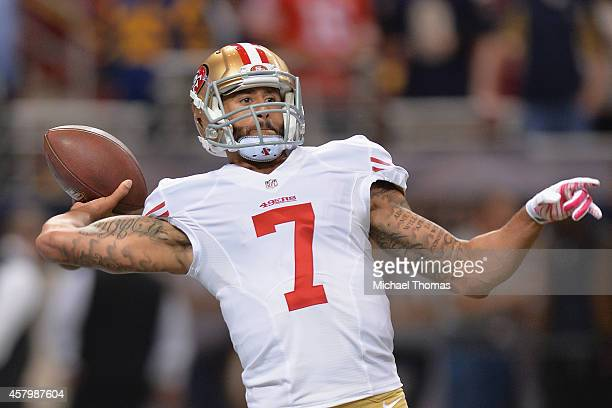 Colin Kaepernick of the San Francisco 49ers warms up prior to a game against the St Louis Rams at the Edward Jones Dome on October 13 2014 in St...