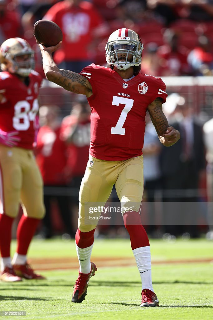 Colin Kaepernick #7 of the San Francisco 49ers warms up prior to playing the Tampa Bay Buccaneers in their NFL game at Levi's Stadium on October 23, 2016 in Santa Clara, California.