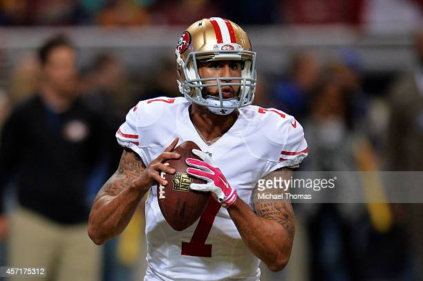 Colin Kaepernick of the San Francisco 49ers warms up prior to their game against the St Louis Rams at Edward Jones Dome on October 13 2014 in St...