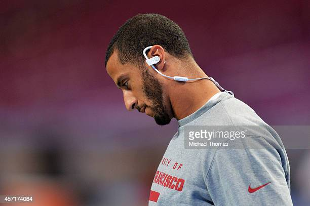 Colin Kaepernick of the San Francisco 49ers wears Beats by Dre earphones prior to their game against the St Louis Rams at Edward Jones Dome on...