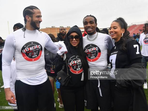 Colin Kaepernick Saweetie Quavo and Nessa Diab attend Huncho Day on the Nawf 2019 Tam Huncho vs Team AK at Berkmar High School on March 31 2019 in...