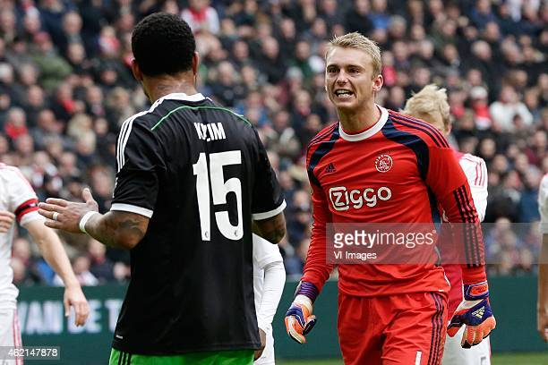 Colin Kazim Richards of Feyenoord Jasper Cillessen of Ajax during the Dutch Eredivisie match between Ajax and Feyenoord on january 25 2015 in...