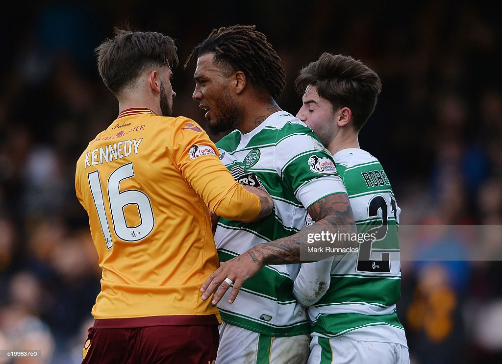Colin Kazim-Richards of Celtic clashes with Kieran Kennedy of Motherwell in the second half during the Ladbrokes Scottish Premiership match between Celtic FC and Motherwell FC at Fir Park on April 9, 2016 in Glasgow, Scotland.