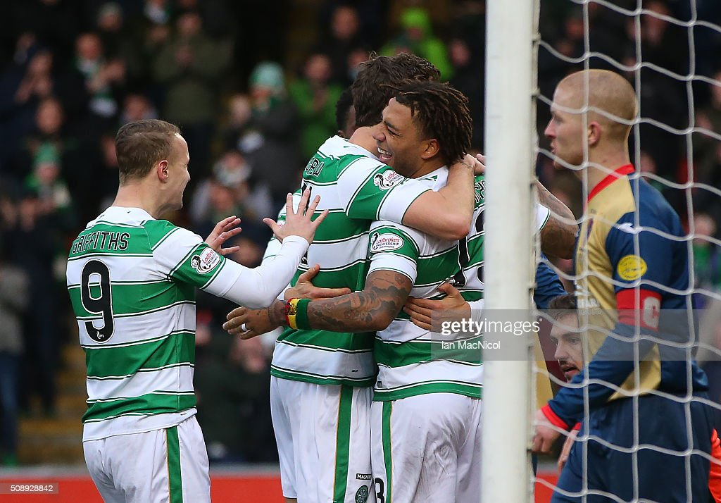 Colin Kazim-Richards (R) of Celtic is congratulatedafter scoring their second goal during the William Hill Scottish Cup Fifth Round match between East Kilbride and Celtic at Excelsior Stadium on February 7, 2016 in Airdrie, Scotland.
