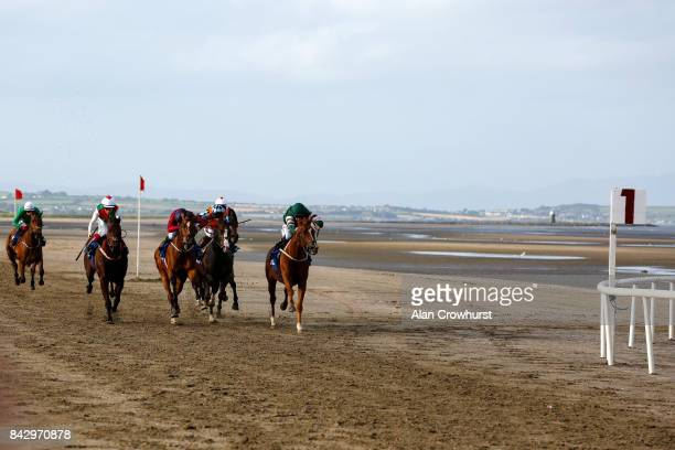 Colin Keane riding Silk Cravat win The Gilnaâs Cottage Inn Maiden at Laytown racecourse on September 5 2017 in Laytown Ireland Laytown racecourse is...