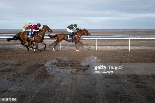 Colin Keane riding Silk Cravat win The Gilna's Cottage Inn Maiden at Laytown racecourse on September 5 2017 in Laytown Ireland Laytown racecourse is...