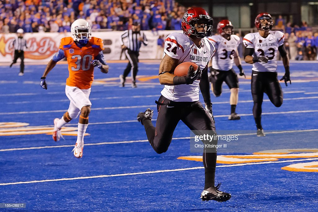 Colin Lockett #24 of the San Diego State Aztecs returns the opening kickoff for a touchdown against the Boise State Broncos at Bronco Stadium on November 3, 2012 in Boise, Idaho.