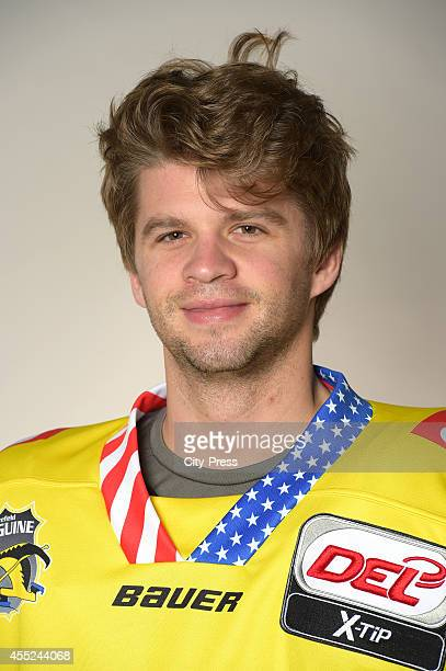 Colin Long of Krefeld Pinguine during the portrait shot on august 14, 2014 in Krefeld, Germany.
