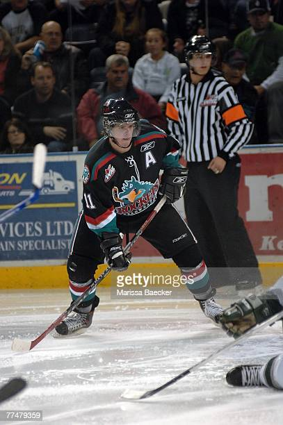 Colin Long of the Kelowna Rockets skates against the Everett Silvertips on October 19 2007 at Prospera Place in Kelowna Canada