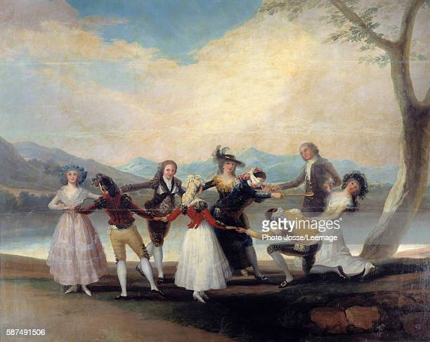 Colin Maillard the game of Blind Man's Bluff Circle of young people dancing around the blindfolded gentleman Painting by Francisco de Goya y...