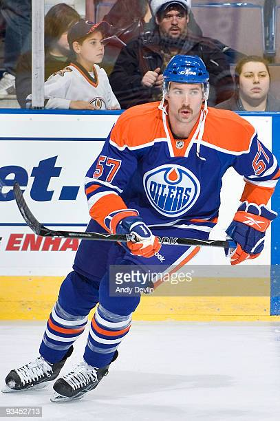 Colin McDonald of the Edmonton Oilers warms up before his first ever NHL game against the San Jose Sharks at Rexall Place November 27 2009 in...