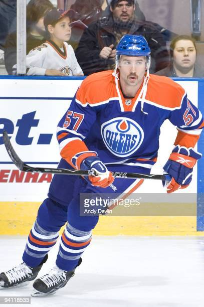 Colin McDonald of the Edmonton Oilers warms up before his first ever NHL game the game came against the San Jose Sharks at Rexall Place on November...