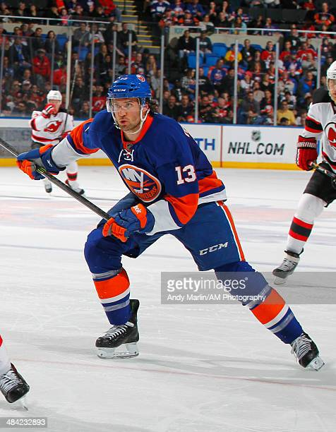 Colin McDonald of the New York Islanders skates against the New Jersey Devils during the game at the Nassau Coliseum on March 29 in Uniondale New York