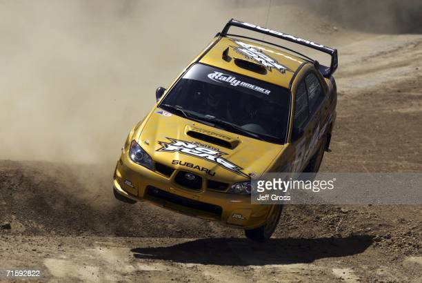 Colin McRae and Nicky Grist of England drive in the Rally Car Racing Final during the ESPN X Games on August 5 2006 at the Home Depot Center in...