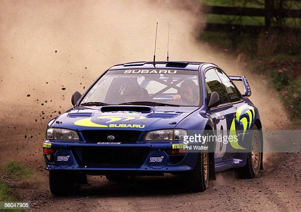 Colin McRae manouvers his Subaru Impreza through Shanks Rd with codriver Nicky Grist during the Shakedown for seeded drivers held on Shanks Road in...