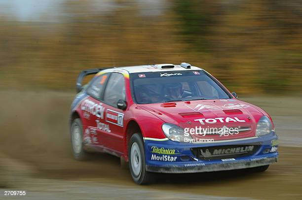 Colin McRae of Great Britain and Citroen in action during the Margam Forest stage of the Wales Rally GB on November 8 2003 in Cardiff Wales
