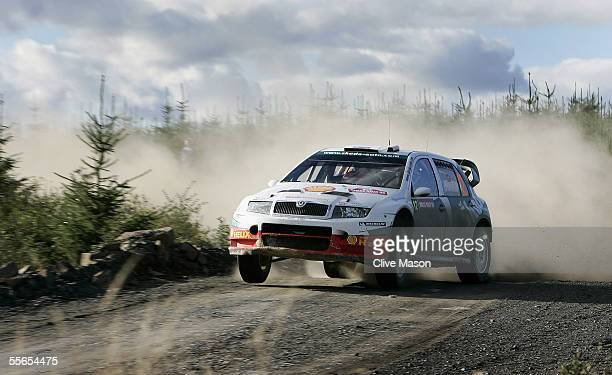 Colin McRae of Great Britain and Skoda in action during the first day of the Wales Rally GB in Trawscoed Forest on September 16 2005 in Swansea Wales