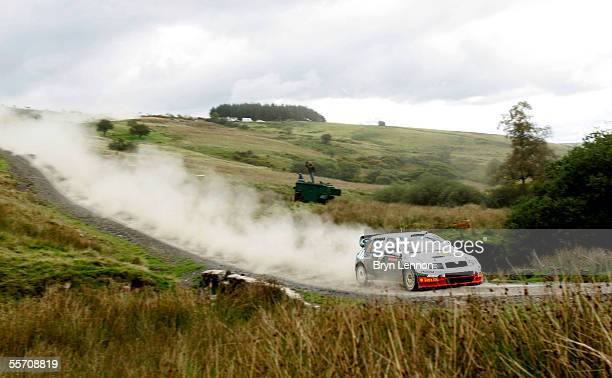 Colin McRae of Great Britain and Skoda in action during the second day of the Wales Rally GB in Llandovery on September 17 2005 near Swansea Wales