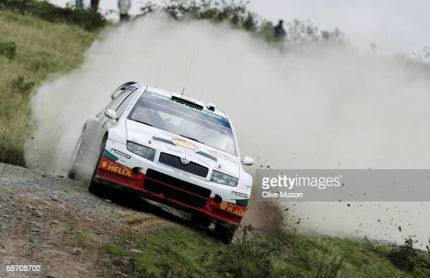Colin McRae of Great Britain and Skoda in actionduring the second day of the Wales Rally GB on the Epynt Ranges on September 17 2005 in Llandovery...