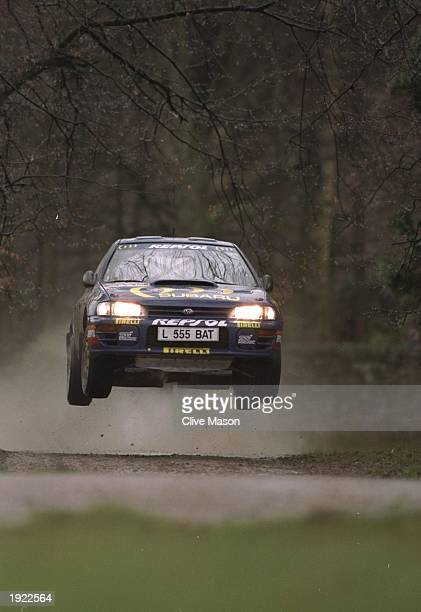 Colin McRae of Scotland in action in his Subaru Impreza during the Chatsworth Stage of the Network Q RAC Rally in Bakewell England Mandatory Credit...