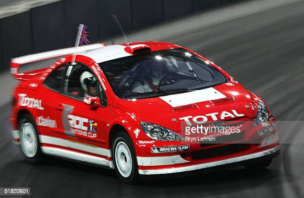 Colin McRae of Team GB tests the Peugeot 307cc prior to the Race of Champions at the Stade de France on December 3 2004 in Paris France